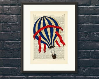 Steampunk Blue Striped Hot Air Balloon Reproduction Book Page Art Print A4 Wall Art, Home Decor, Dictionary Page