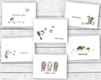 Thank You Cards Summer Collection - 24 Cards & Envelopes