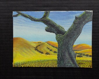 The Old Oak Tree - Original Painting by Nico Diemel - Small painting - California foot-hills - Oil / Acrylic / painting on canvas, miniature
