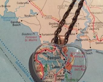 Luboc, ME Vintage Map Pendant Necklace