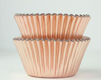 Metallic Rose Gold Foil Cupcake Liners Baking Cups- 45 Ct. | Rose Gold Party Decor | Rose Gold Bridal Shower | Rose Gold Wedding Decor