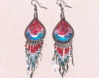 Vintage 80's Red Silver & Turquoise Dream Catcher Dangle Earrings, Beaded Dream Catcher Dangles, Southwestern Style Beaded Dangle Earrings