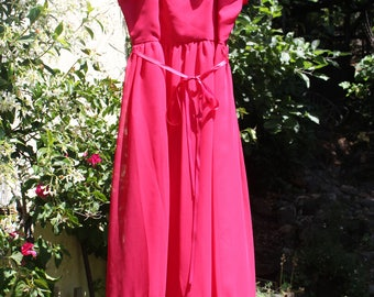 Maxi Dress Hot Pink/Red Party Dress Prom Long Sheer Gown 1970s Vintage - XS/S
