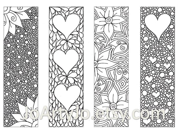 Valentine's Bookmarks To Print And Color Zentangle
