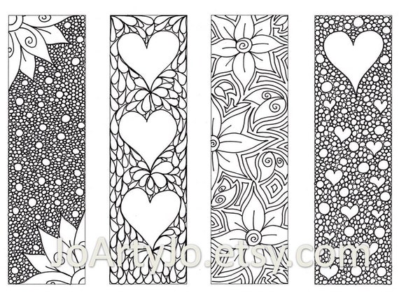 Valentines Bookmarks To Print And Color Zentangle Inspired Hearts And Flowers Printable Coloring Digital Download Sheet