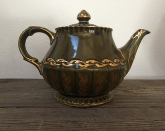 Vintage English Ellgreave Teapot, olive green and gold