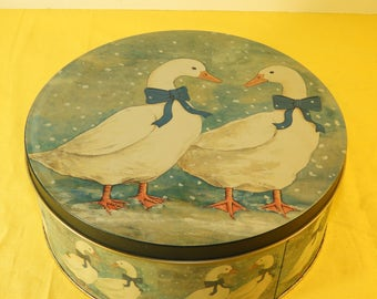 Vintage Rare Collectible Ducks In Snow Round Tin, White Ducks Blue Ribbon In Snow Tin, Round Cookie Collectible Tin, made in Taiwan R.O.C.
