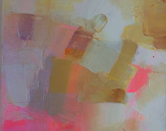 """Pink - Original Abstract Acrylic Painting 10"""" x 10"""""""