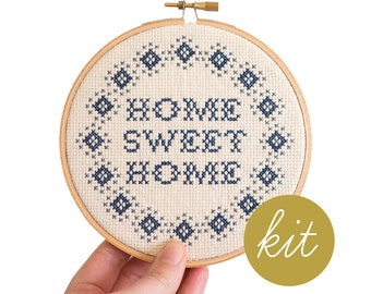 Home Sweet Home, Simple, Modern Cross Stitch Kit