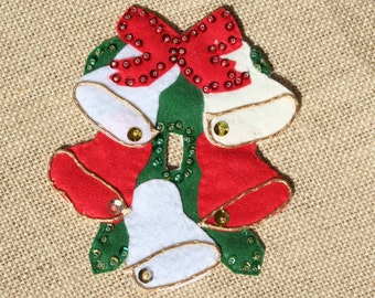 Vintage Felt Christmas Bells Switch Cover, Sequined, 1960s