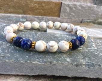Lapis lazuli magnesite bracelet self confidence, concentration, self determination