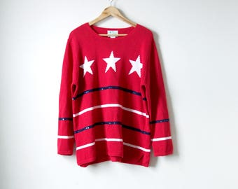 80s Stars Stripes Sweater - 80s Sweater Vintage Sweater 80s Clothing - Oversized Sweater - Sequin Patterned Sweater - Women's L