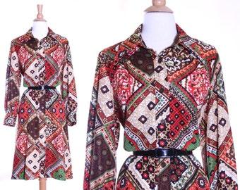70s patchwork princess boho shirt dress - large or xl