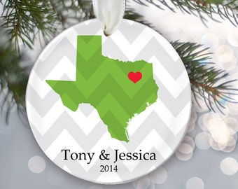 State Love Personalized Christmas Ornament New Home Ornament Housewarming Gift State Pride Custom Ornament Name and Date First Home OR248