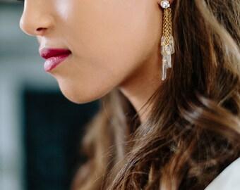 HEMLOCK quartz bohemian bridal statement earrings, boho wedding jewelry