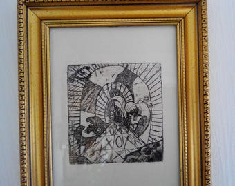 "Waters strong engraving 1st Edition, ""tunnel"" frame and glass"