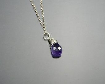 Amethyst Necklace, Sterling Silver, Argentium Silver, 14KGF Pink Gold, Made to Order, February Birthstone, Necklace Only