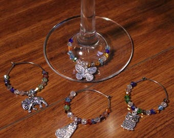 Charm and Beaded Wine Glass Charms