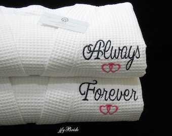 Cotton Anniversary Gift for Her, 2nd Anniversary Gift for women, Custom Cotton Robes, Wedding Anniversary Gift, 1801 Set of 2 Robes