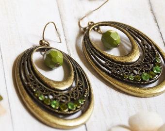 Bohemian filigree bead and rhinestone earrings