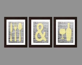 Shabby Chic Kitchen Wall Art, Eat And Drink, Kitchen Decor, Kitchen Wall Art, Gray Yellow Decor, Rustic Kitchen Wall Art Print