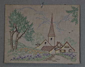Finished Embroidery Old Style Church and Trees