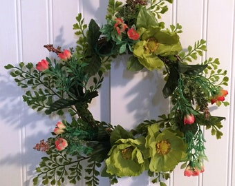 Grapevine Floral Wreath, Front Door Wreath, Hanging Wreath, Housewarming  Gift, Kitchen Decor Grapevine Wreath, Flowered Wreath