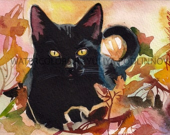 Black Cat Print for Instant Download Digital Art Picture of Cat autumn Halloween.