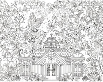 Garden Glass House Colouring in Poster