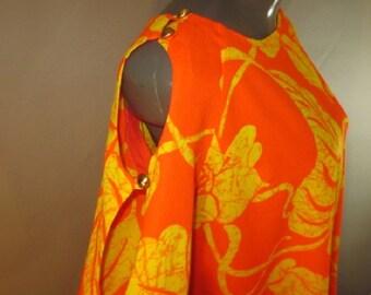 Vintage 1960's, Maxi Dress, Polynesian Bazaar, Waikiki, Hawaii, Open Shoulders and Sleeves, Slip On, Hawaiian Maxi Shift