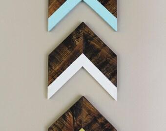 Set of 3 Arrows   Arrow Wall Decor Trio   Chevron Wall Decor   Turquoise, White, and Green