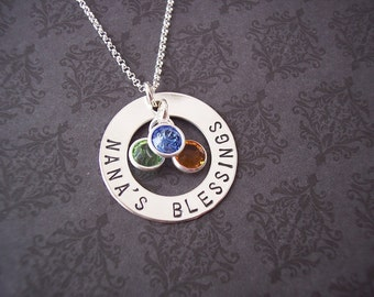 Hand Stamped Jewelry - Personalized Necklace - Sterling Washer SMALL MOTHERS RING  Design