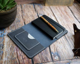 Leather Notebook Cover - Tempesti Grey Leather, Grey Leather Notebook, Moleskine Pocket Notebook Cover, Journal Cover