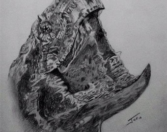 Alligator Snapping Turtle Pencil Signed Print by artist Joe Richichi