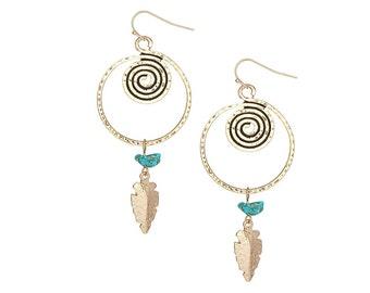 Gold arrowhead and turquoise earrings - bohemian jewelry
