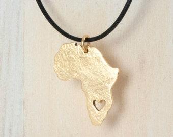 Adoption Jewelry Africa necklace - 18k gold NU GOLD Heart africa Ethiopia pendant Adoption necklace  Ethiopia Ciondolo africa heart necklace