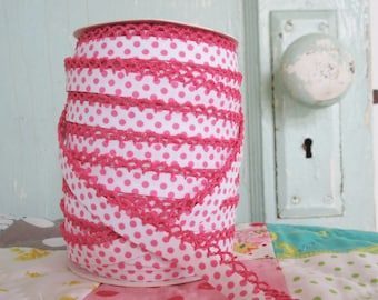 Fuchsia on White Polka Dot Crochet Edge Bias Tape (No. 203). Children's Clothing Sewing Supplies.  Double Fold quilt bias. Quilting supplies