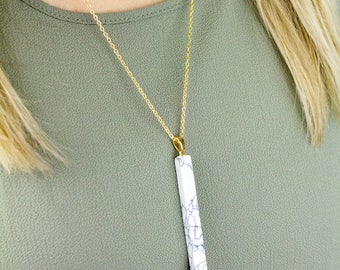 White Marble Necklace, Marble Bar Necklace, Marble Necklace, Gold Marble Necklace, Thin Bar Necklace, Bar Necklace, White Marble Bar