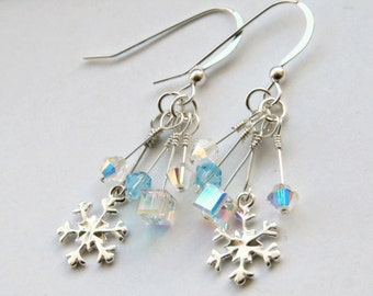 Swarovski Snowflake Earrings, Sterling Silver Snowflake Earrings, Icicle Earrings, Christmas Earrings
