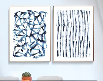 Set of 2 Prints, Abstract Art Prints, Large Wall Art, Printable Abstract Art, Navy Blue Wall Art, instant download Art, Minimal Art A1 Print