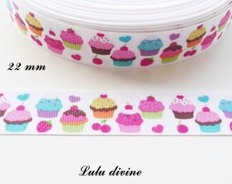 Cake Cupcake cherry Strawberry 22 mm white grosgrain Ribbon sold by 50 cm