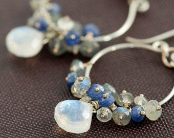 Silver Chandelier Earrings with Moonstone Sapphire Labradorite Clusters, Blue Gray Gemstone Dangle Earrings, aubepine