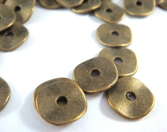 20 Flat Wavy Disk Spacer Bead Antique Bronze Donut Bead 10x1mm 2mm hole LF/CF/NF - 20 pc - M7028-AB20