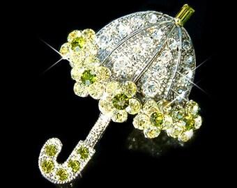 Swarovski Crystal Green Lady UMBRELLA Mary Poppins Rainy Day Rain Shower Fairy Tale Pin Brooch Jewelry Best Friend Birthday Christmas Gift