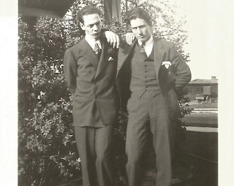 """Vintage Snapshot """"Frown For The Camera"""" Handsome Man & Friend Three-Piece Suit Double Breasted Blazer Found Vernacular Photo"""