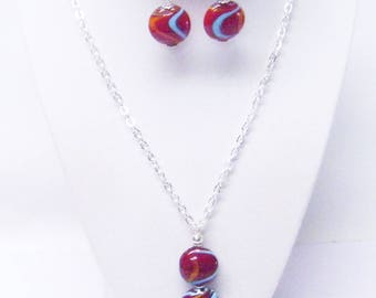 Mahogany Disc Glass Bead Pendant Necklace & Earrings Set