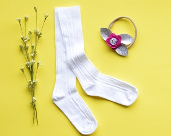 White Knee High Socks. Hand Dyed Cotton Socks. Cable Knit Knee High Socks for Babies, Toddler and Girls