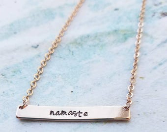 Namaste Necklace - Gold Bar Necklace - Dainty Gold Bar Necklace - Personalized Bar Necklace - Yoga Necklace - Hand Stamped Bar Necklace