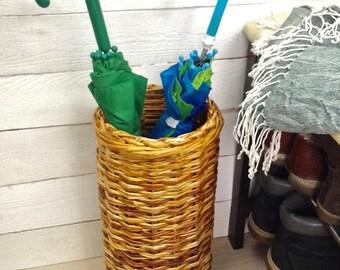 Umbrella stand, Wicker umbrella holder, Cane stand, Stick stand, Hallway basket, Laundry hamper, Tall basket, Entryway organizer