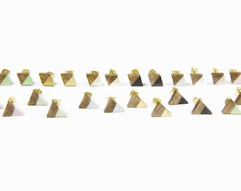 Luxe Studs/ Diamond Shape/ Triangle Shape/ Lasercut Wood Stud Earrings/ Brass Backing/ Painted/ Neutral and Metallic Colors/ Gold/ Silver